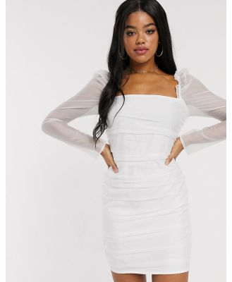 In The Style ruched mesh puff sleeve mini dress in white