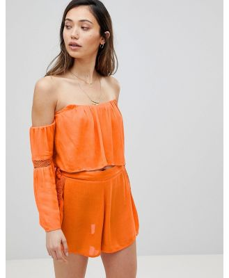 Influence Co-Ord Off Shoulder Beach Top - Orange