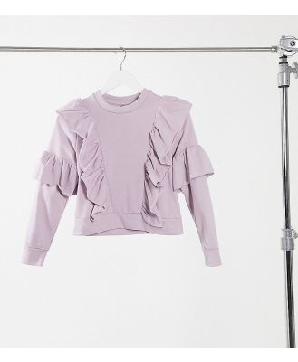 Influence Petite frill detail sweater in dusty lilac-Purple