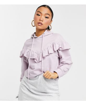 Influence Petite frill front hoodie co-ord in lilac-Purple