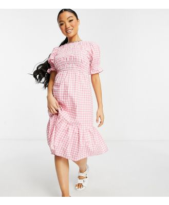 Influence Petite midi dress in pink gingham