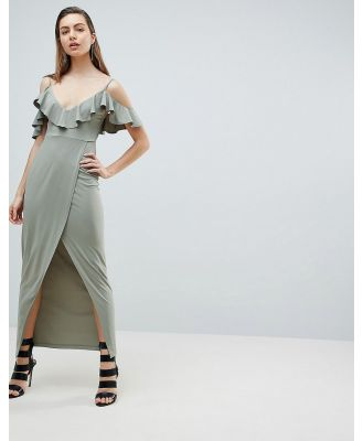 Ivyrevel Cold Shoulder Maxi Dress with Wrap Front - Green