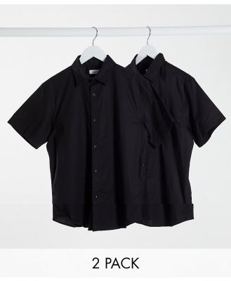Jack & Jones 2 pack short sleeve shirts with stretch in black
