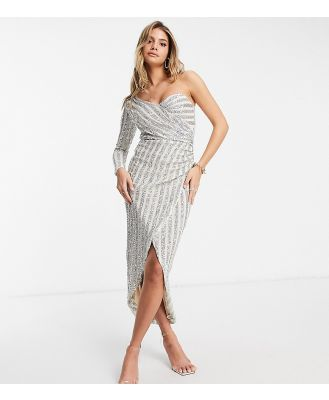 Jaded Rose exclusive sequin wrap one-shoulder dress with thigh split in silver