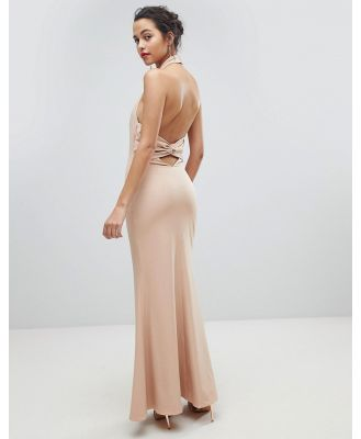 Jarlo High Neck Ruched Open Back Maxi Dress - Pink