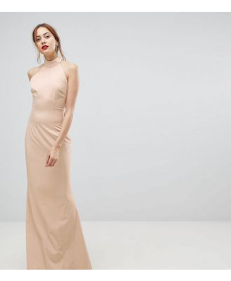 Jarlo Tall High Neck Ruched Open Back Maxi Dress - Pink