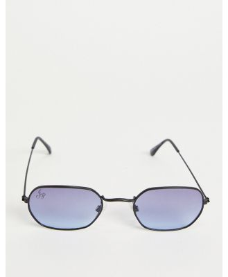 Jeepers Peepers unisex oval blue lens sunglasses in black