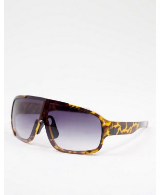 Jeepers Peepers women's visor sunglasses in black with purple lens-Brown