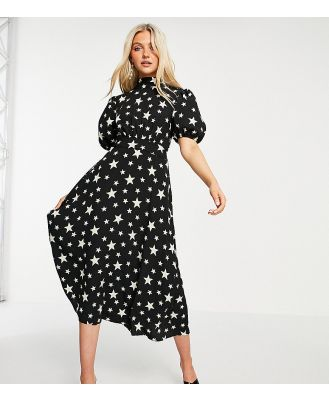 John Zack exclusive puff-sleeved midi dress with open back detail in black star print-Multi