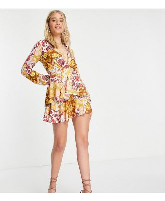 John Zack Tall exclusive plunge front tiered ruffle mini dress in contrast floral-Multi