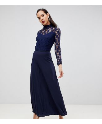 John Zack Tall Over Lace Top Maxi Dress With Open Back-Navy