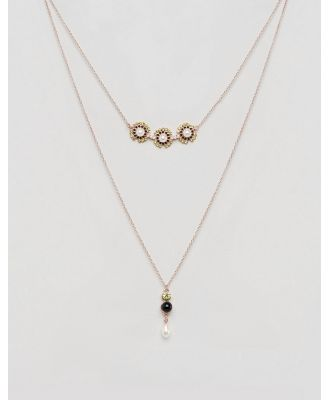 Johnny Loves Rosie Charcole Pearl Multilayer Necklace - Gold