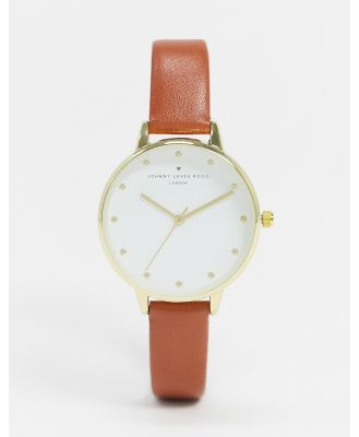 Johnny Loves Rosie watch with brown strap
