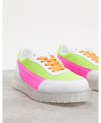 Joshua Sanders low top sneaker with transparent sole in neon pink and yellow-Multi