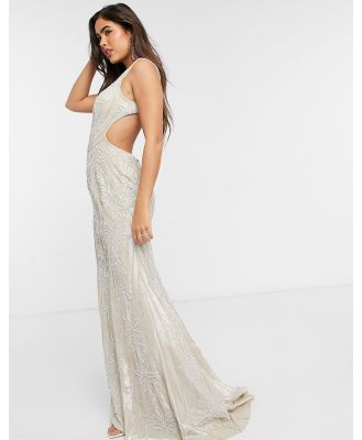 Jovani cut out side maxi dress in white