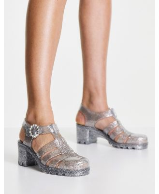 Juju jelly heeled shoes in clear silver glitter-Multi