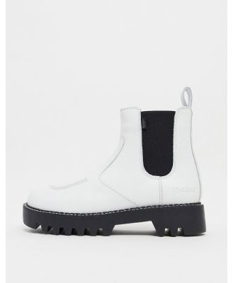 Kickers Kizziie chunky chelsea boots in white