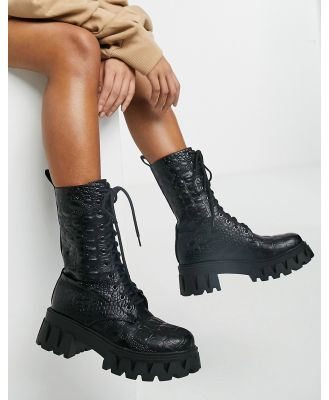 Koi Footwear Fontaine faux leather chunky boots in black croc