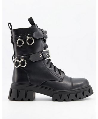 Koi Footwear Vegan chunky lace up boots with metal rings in black