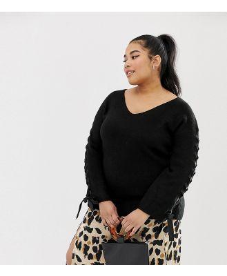 Koko ribbon tie sleeve jumper - Black