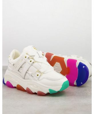 Kurt Geiger London Lettie chunky trainer with rainbow sole in white leather