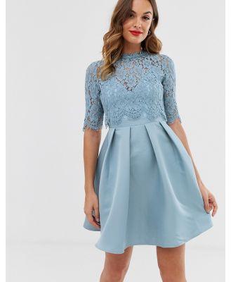Little Mistress 3/4 sleeve skater dress with lace upper-Blue