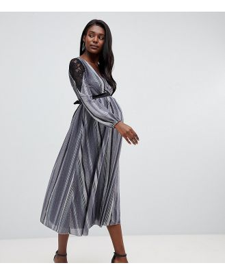 Little Mistress Maternity wrap front lace insert midi skater dress in metallic stripe - Grey