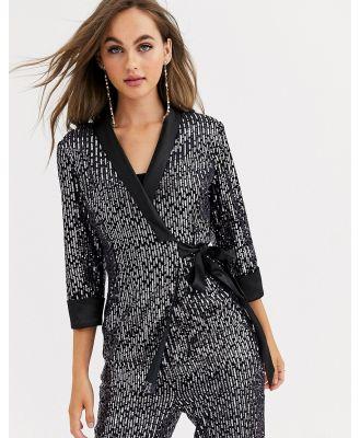 Little Mistress tailored sequin wrap blazer in black co ord