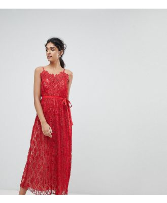Little Mistress Tall All Over Lace Midaxi Cami Dress-Red