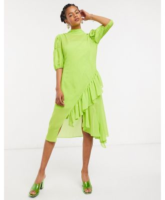 Lost Ink high neck midi smock dress with ruffle in sheer-Green
