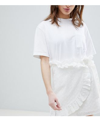 Lost Ink Petite Mini Wrap Skirt In Broderie Anglaise-White