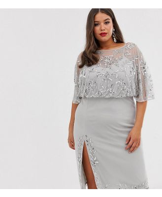 Lovedrobe Luxe embellished midi dress with split-Silver