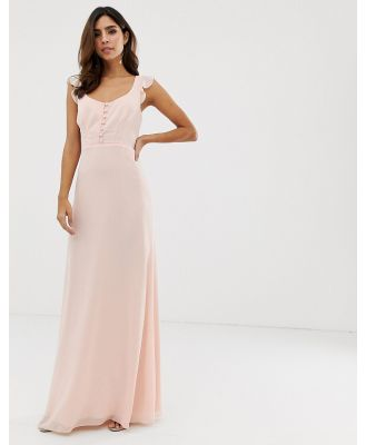 Maids to Measure bridesmaid maxi dress with button front detail and tie back-Pink
