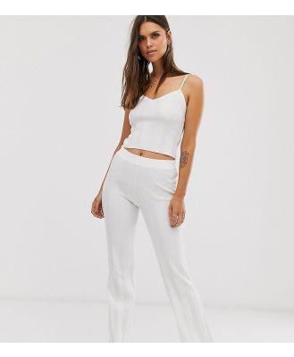 Micha Lounge flare pants in wide rib knit co-ord-White