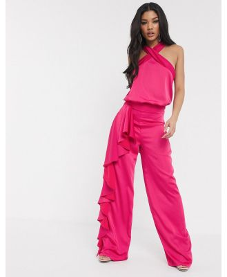 Missguided Peace + Love frill overlay wide leg pants in pink