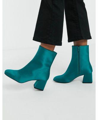 Monki Leia satin ankle boots in green