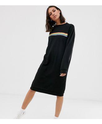 Monki rainbow stripe sweater dress-Black