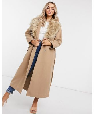 NA-KD faux fur collar coat in camel-Neutral