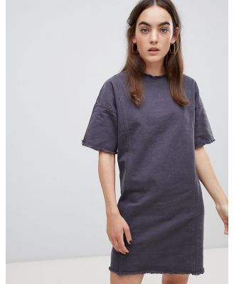Native Youth shift dress with raw hem detail - Grey