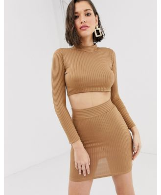 New Age Rebel high neck cropped top and mini skirt set-Brown