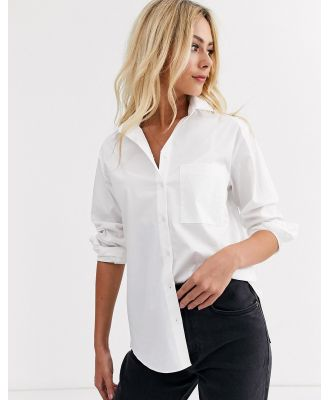 New Look button through pocket shirt in white