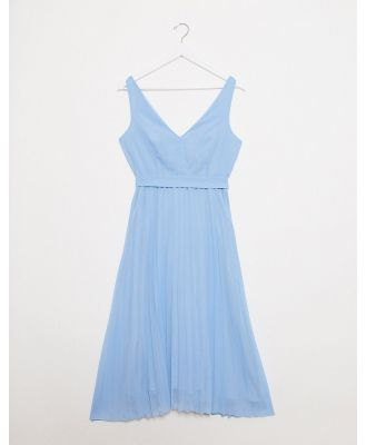 New Look v neck pleated midi dress in light blue