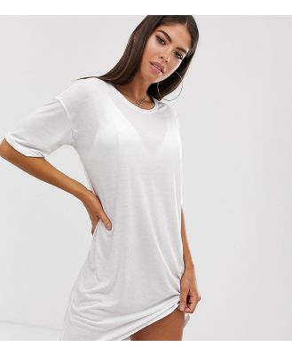 Noisy May Tall back logo t-shirt dress-White