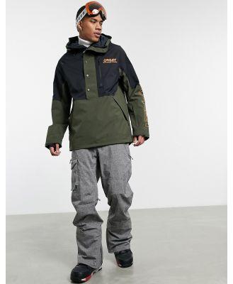 Oakley TNP lined shell ski anorak jacket in black/green