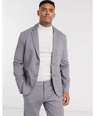 Only & Sons relaxed jersey suit jacket in grey