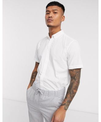 Only & Sons Short Sleeve Stretch Cotton Shirt-White