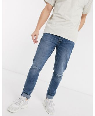 Only & Sons slim fit distressed jeans in light blue