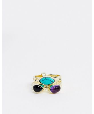 & Other Stories multi layer stone ring in gold