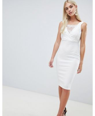 Outrageous Fortune bodycon dress with lace inserts in ivory - White