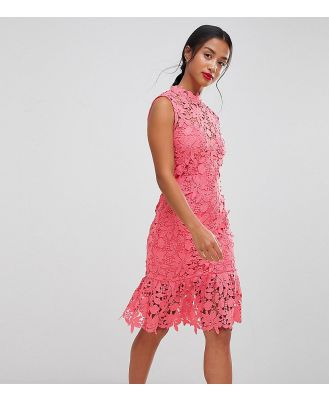Paper Dolls Petite High Neck Lace Dress with Pephem - Pink